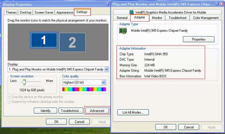 How to Check Graphic Card Memory in the Windows XP 1